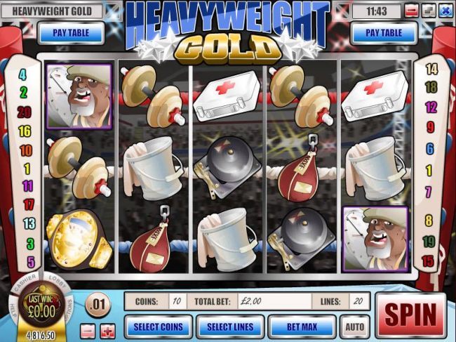 main game board featuring five reels and twenty paylines with an 1000x max payout by Casino Bonus Beater