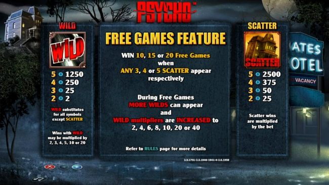Casino Bonus Beater - Wild and Scatter symbols paytable. Free Games Feature rules.