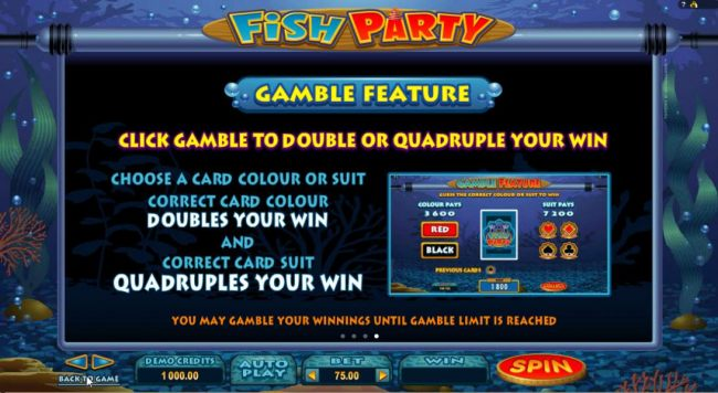 Gamble Feature - Click Gamble to double or quadruple your win! Choose color or suit. Correct color doubles your win and correct card suit quadruples your win. You may ganble winnings until gamble limit is reached. by Casino Bonus Beater