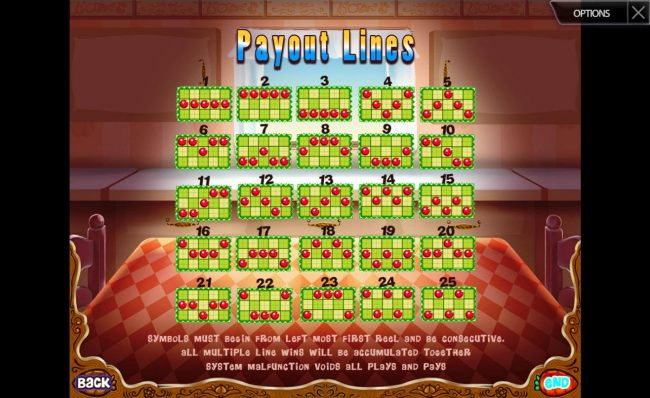Casino Bonus Beater - Payline Diagrams 1-25. Symbols must begin from the left most first reel and be consecutive.