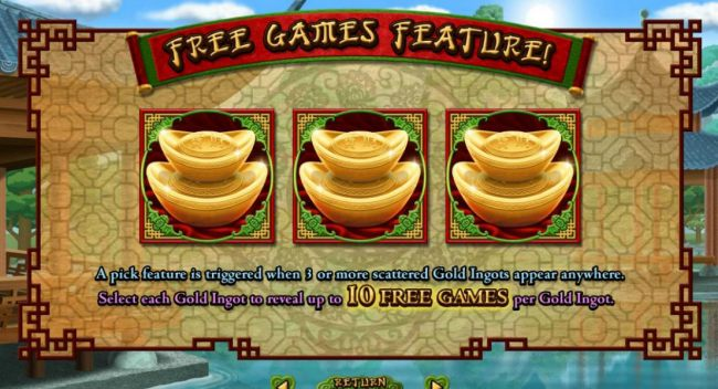 Casino Bonus Beater - Free Games Feature. A pick feature is triggered when three or more scattered Gold Ingots appear anywhere. Select each Gold Ingot to reveal up to 10 Free Games per Gold Ingot.