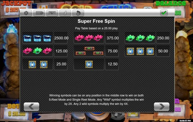 Super Free Spins Paytable