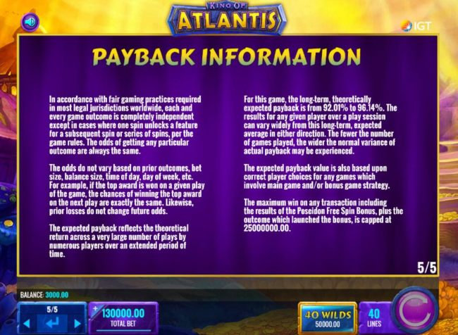 Casino Bonus Beater - Payback Information - Theoretical return To Player is from 92.01% to 96.14%. The maximum win on any transaction is capped at 25,000,000.