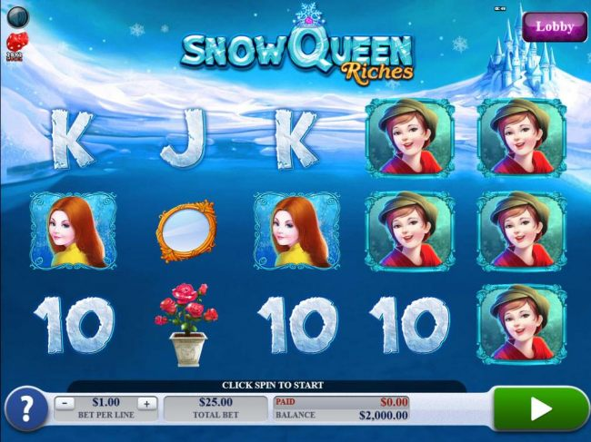 A mytholigical ice kingdom themed main game board featuring five reels and 25 paylines with a $20,000 max payout