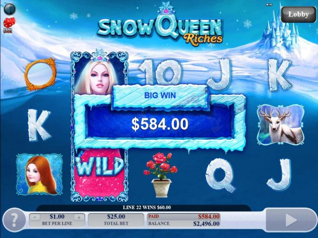 Frozen Wild Feature pays out a total of 584.00