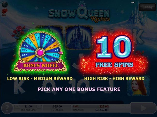You get to select one of two bonus features to play, Bonus Wheel or 10 Free Spins.