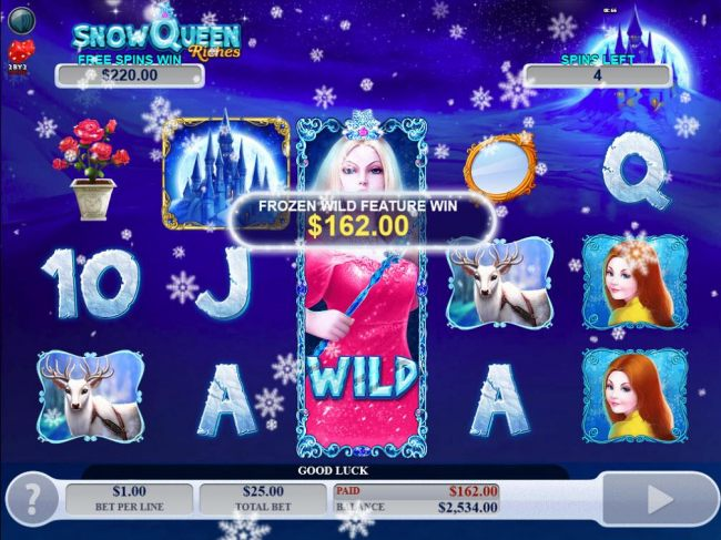 Frozen Wild Feature pays out a total of 162.00 during the Free Games feature.