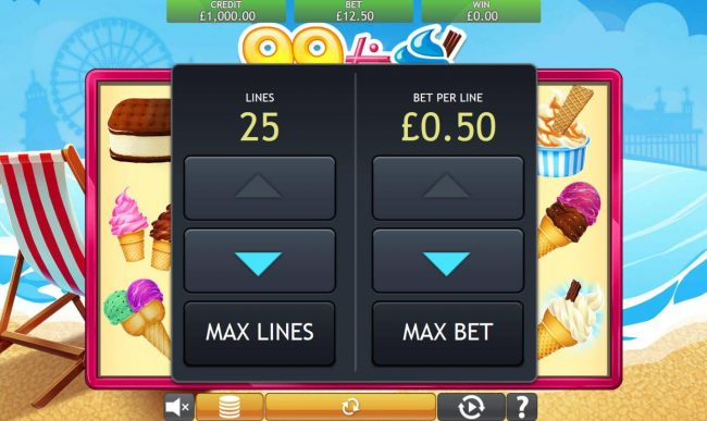 Click the coin button to adjust the lines and or bet per line played