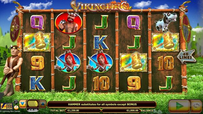 Main game board featuring five reels with 40 paylines and a $50,000 max payout. - Casino Bonus Beater