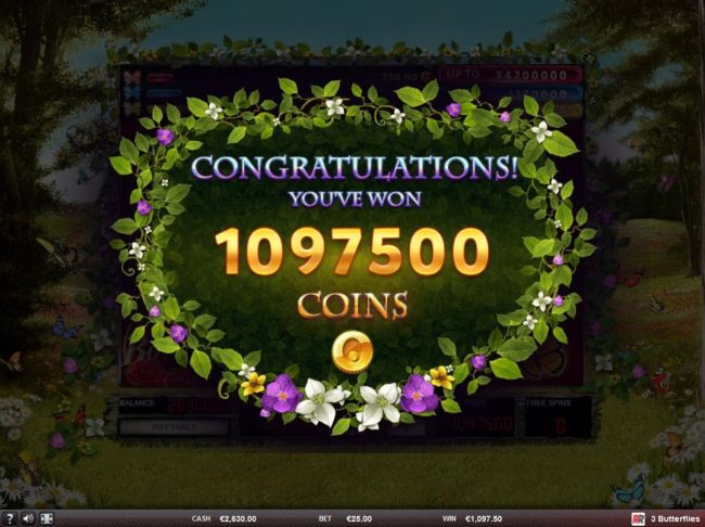 Total free spins payout 1097500 coins