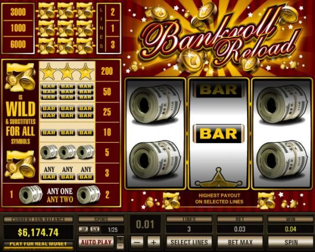 Bankroll Reload 3 Lines by Casino Bonus Beater