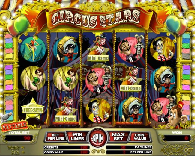 Main game board featuring three reels and 5 paylines with a $12,000 max payout. Featuring a circus theme. - Casino Bonus Beater