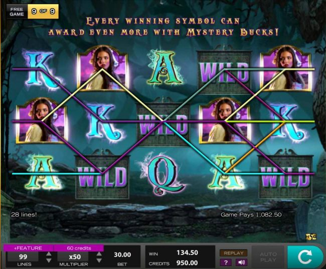 A 1082.50 super jackpot win triggered by multiple winning paylines.