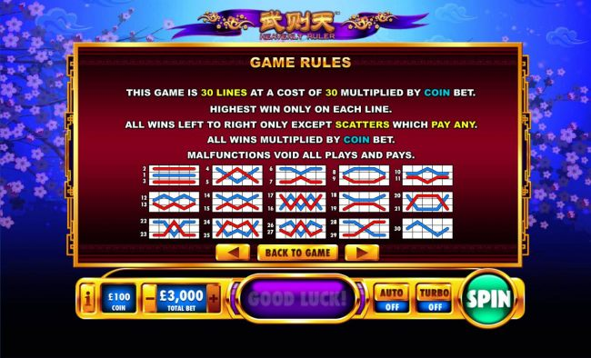 General Game Rules and Payline Diagrams 1-30 - Casino Bonus Beater