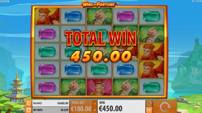 A 450.00 payout triggered by multiple winning combinations during the Super Respin feature by Casino Bonus Beater