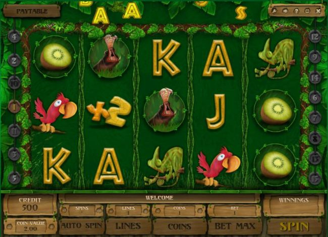 a five reel, 15 payline video slot game