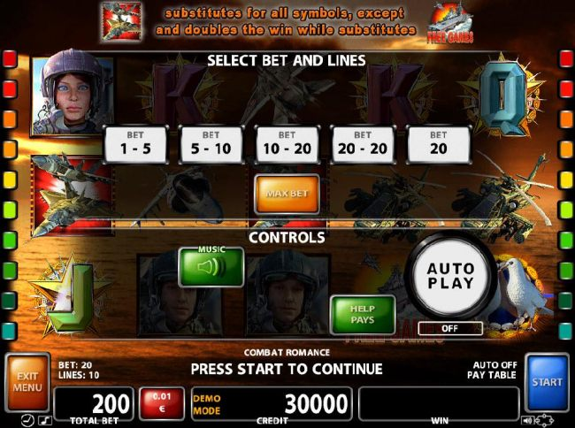 Select Bet and Lines - 1 to 10 Lines and 1 to 20 coins per line.