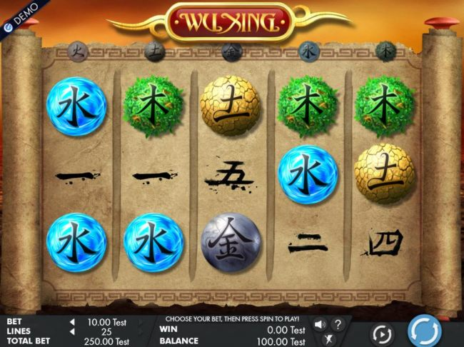 A Chinese themed main game board featuring five reels and 25 paylines with a $4,000 max payout