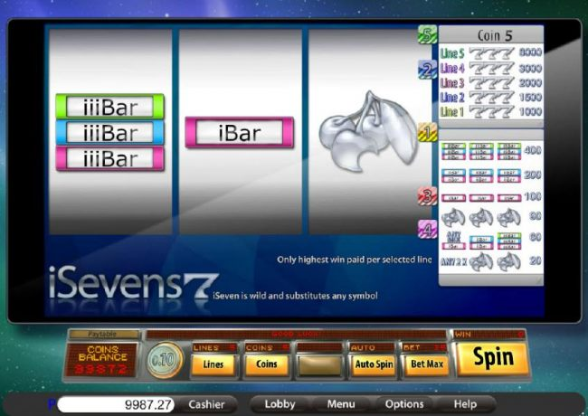 Casino Bonus Beater - main game board featuring three reels and five paylines