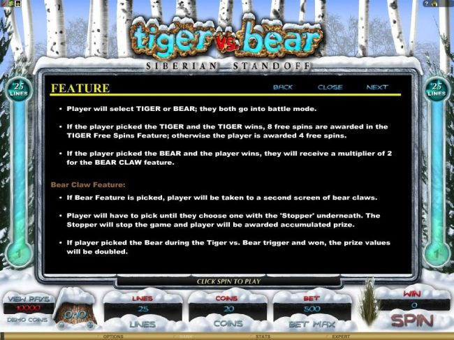 Bear Claw feature game rules