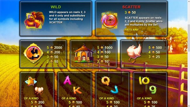 High value slot game symbols paytable featuring farm themed icons - Casino Bonus Beater