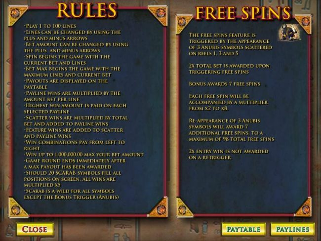 game rules and free spins
