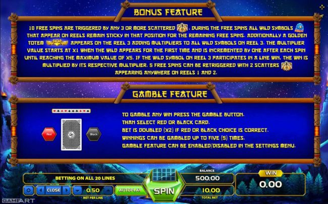 Bonus Feature and Gamble Feature Rules