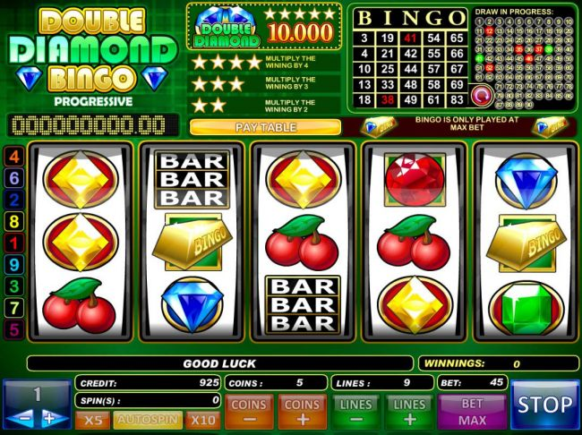Main game board featuring five reels and 9 paylines with a $50,000 max payout. by Casino Bonus Beater