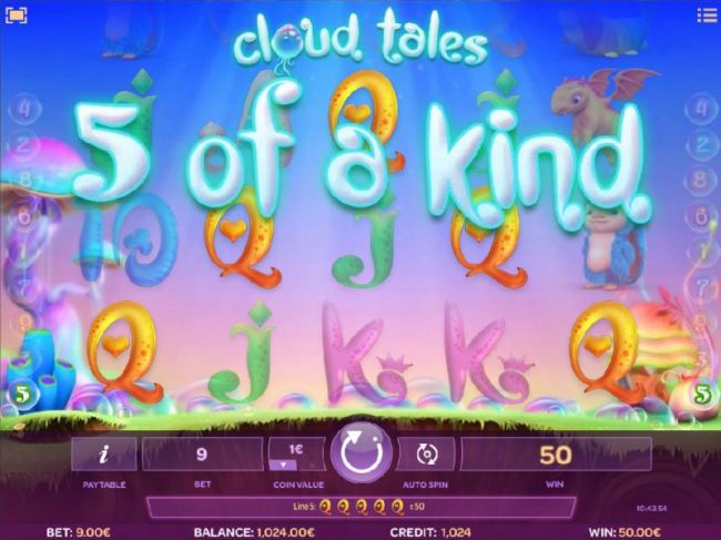 A five of a kind triggers a 50 coin  payout - Casino Bonus Beater