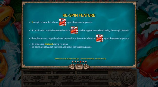 Re-Spin feature Rules - 1 re-spin is awarded when a koi fish wild symbol appears anywhere.