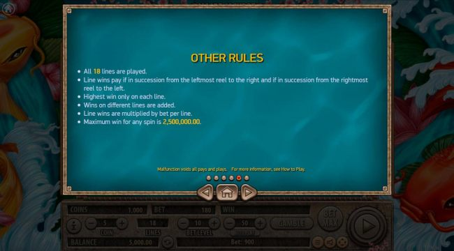 General Game Rules - Maximum win per paid spin is 2,500,000.