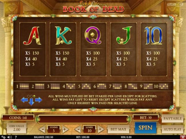 Low value game symbols paytable and payline diagrams 1 to 10 - Casino Bonus Beater