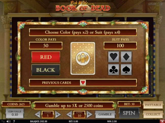 Gamble feature game board is available after every winning spin. For a chance to increase your winnings, select the correct color or suit of the next card or take win.