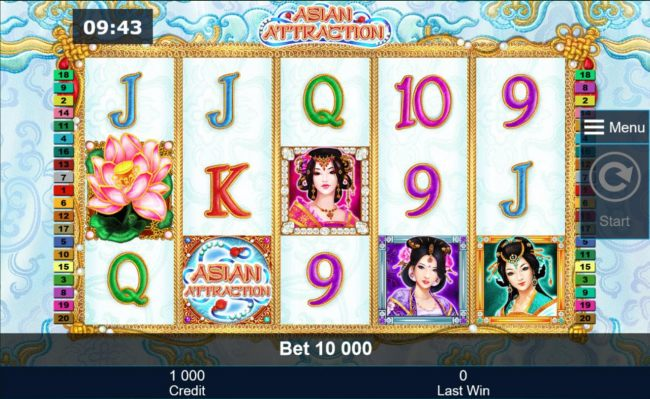 An Asian themed main game board featuring five reels and 40 paylines with a $500,000 max payout - Casino Bonus Beater