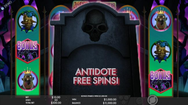 Antidote Free Spins awarded.