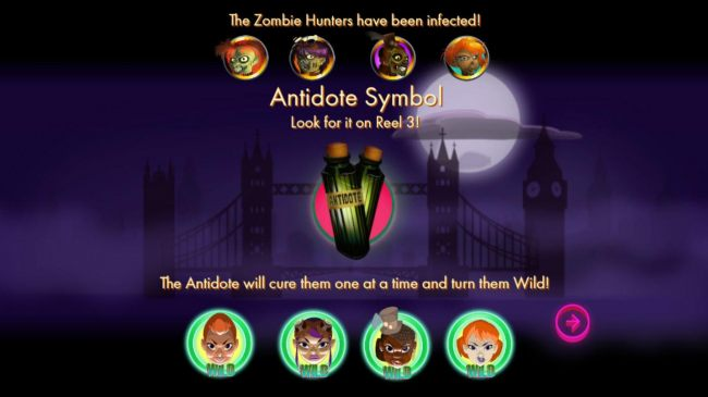 The zombie hunters have been infected, Antidote symbol only appears on reel 3, The antidote will them one at a time and turn them wild!