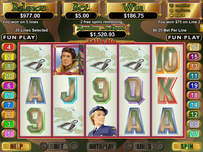 A winning Four of a Kind triggers a 75.00 line pay during the free games feature. by Casino Bonus Beater