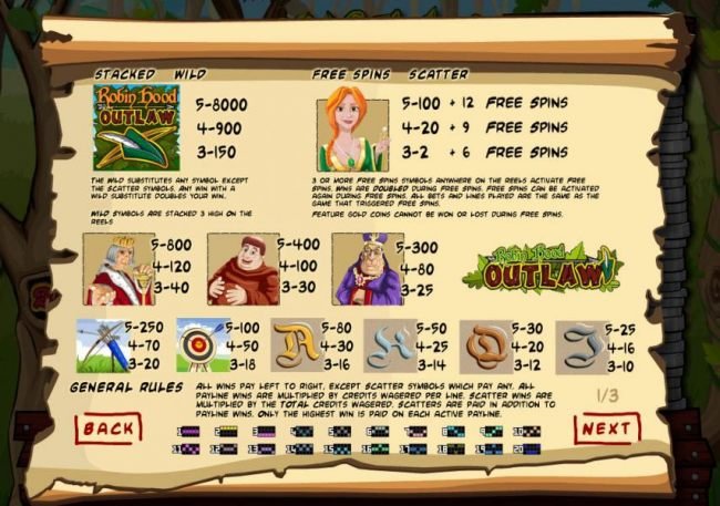 Slot game symbols paytable and payline diagrams 1-20. The wild is represented by the Robin Hood Outlaw game logo and is the highest value symbol on the game board. A five of a kind pays 8,000 coins.