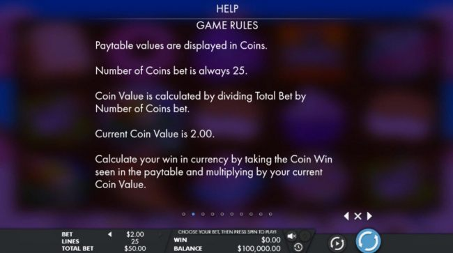 Paytable values are displayed in coins. Number of coins bet is always 25 - Casino Bonus Beater