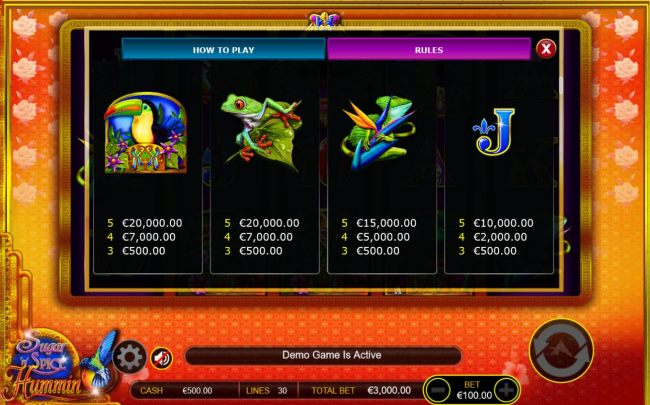 Medium Value Slot Game Symbols Paytable