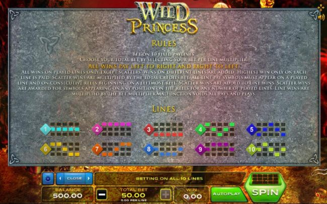 General Game Rules and Payline Diagrams 1-10