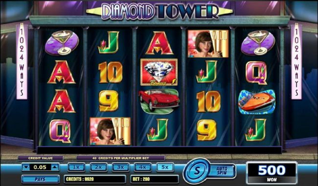 Casino Bonus Beater - multiple winning paylines triggers a 500 coin payout