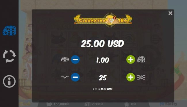Casino Bonus Beater - Click on the side menu button to adjust the lines played or coin size.