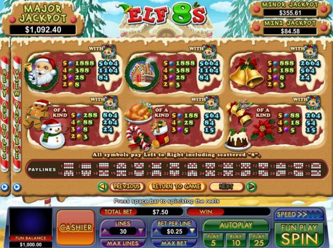 Slot game symbols paytable featuring Christmas holiday inspired icons.