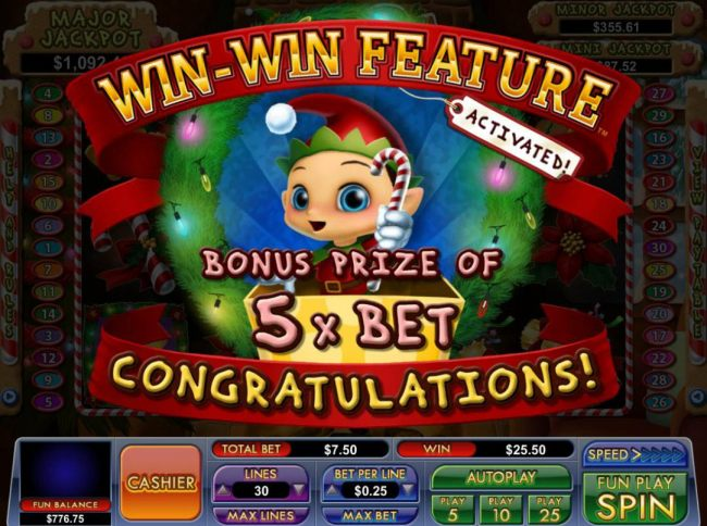 Win-Win Feature activated - Bonus prize of 5x bet awarded.