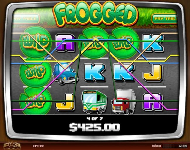 A 425.00 big win triggered during the free spins feature. - Casino Bonus Beater