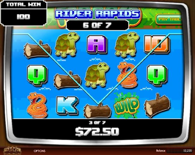 Three or more bulldozer icons on screen during the free spins feature triggers the Rapid Rivers Round with an additional 7 free spins.
