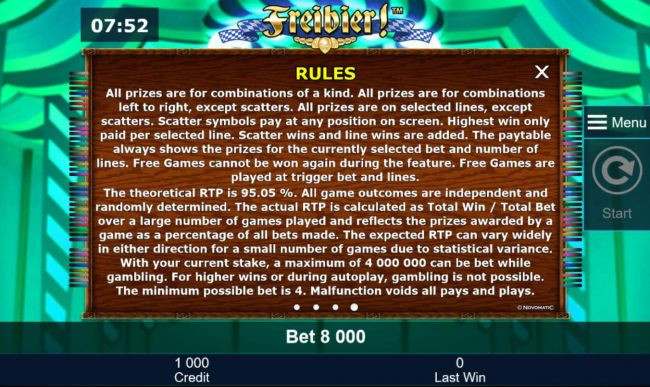 Casino Bonus Beater - General Game Rules - The theoretical average return to player (RTP) is 95.05%.
