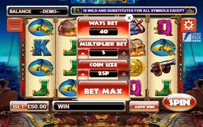 Click on BET to select wys to bet, multiplier bet and coin size
