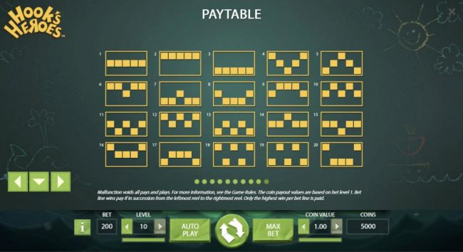 Payline Diagrams 1-20 The coin payout values are based on bet level 1.